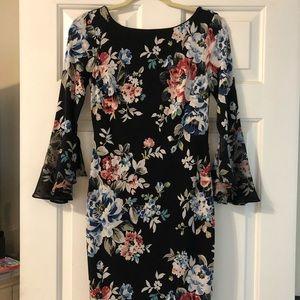 WHBM floral bell sleeve dress